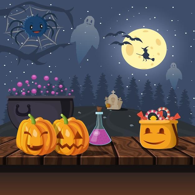 Halloween-illustratie bij nacht Gratis Vector