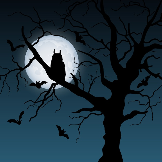 Halloween-illustratie met boom, maan, uil en knuppels Premium Vector