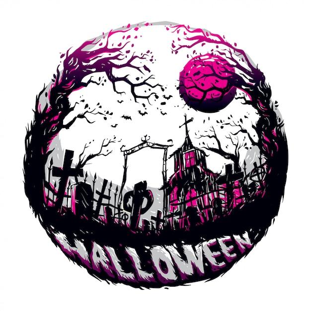Halloween in de donkere nacht Premium Vector