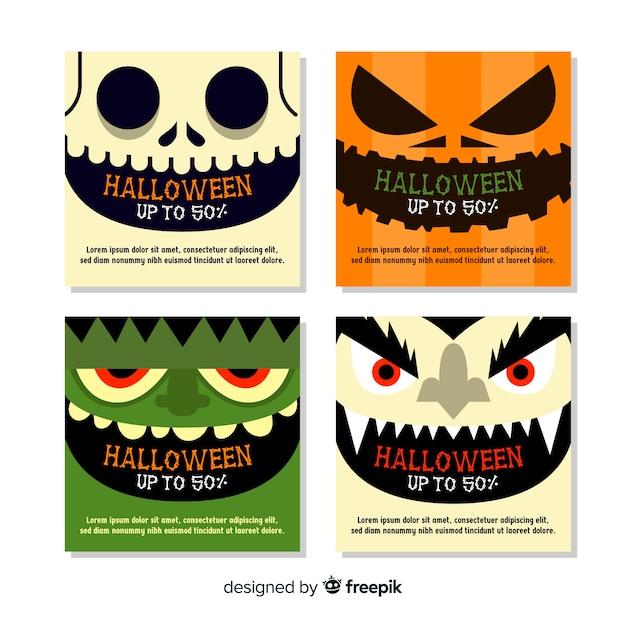 Halloween instagram postverzameling met close-upgezichten Gratis Vector