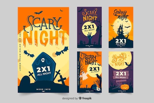 Halloween instagram postverzameling met griezelige elementen Gratis Vector