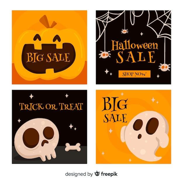 Halloween instagram postverzameling Gratis Vector