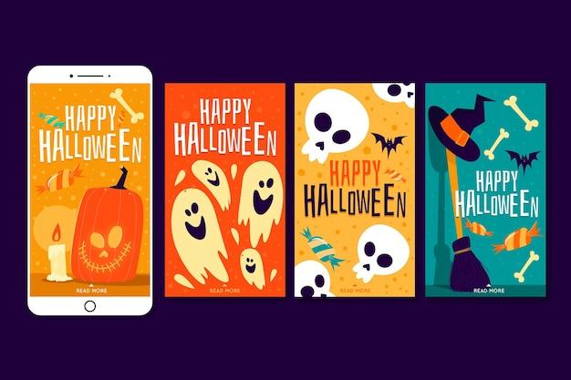 Halloween instagram verhalen collectie Gratis Vector
