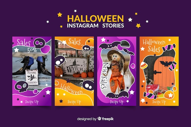 Halloween instagram-verhalencollectie Gratis Vector