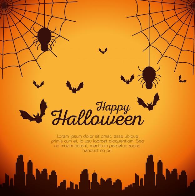 Halloween-kaart met spinnenweb en vleermuizen vliegen Gratis Vector