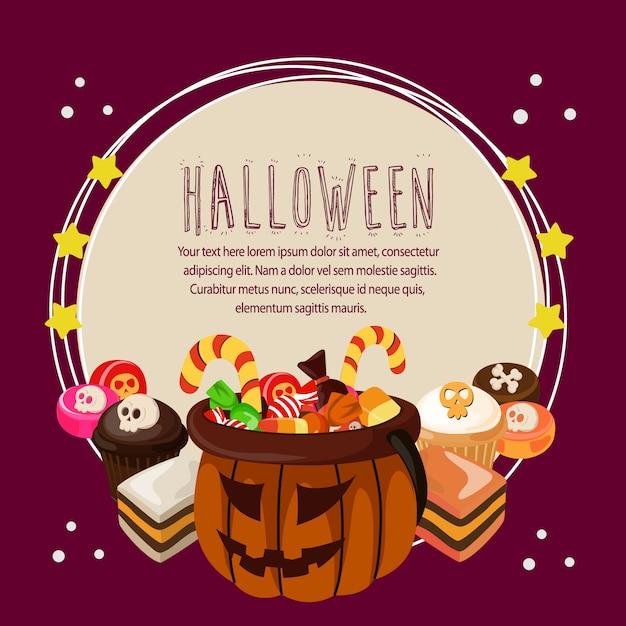 Halloween Traktaties.Halloween Kaart Met Traktaties Om Tekst Vector Premium