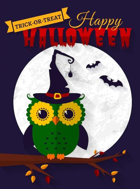Halloween-kaart met uil en vleermuizen. Premium Vector