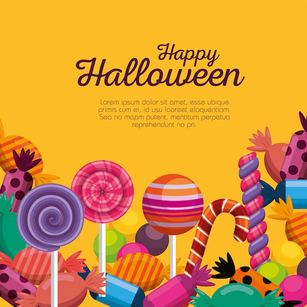 Halloween-kaart met zoete snoepjes Gratis Vector