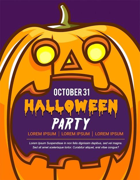 Halloween-kaart van de partijuitnodiging of groetkaart met de grote griezelige illustratie van het pompoenbeeldverhaal, tekstruimte in de mond van pompoen Premium Vector