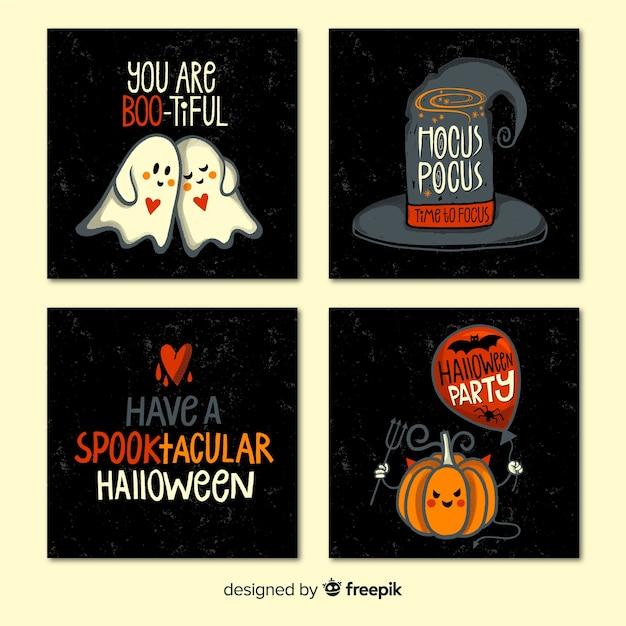 Halloween-kaartcollectie met citaten Gratis Vector