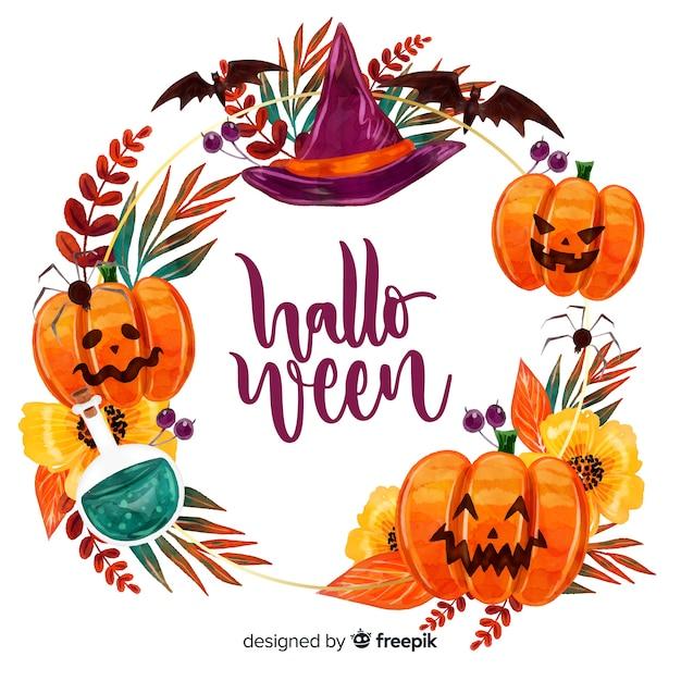 Halloween-kader met waterverfontwerp Gratis Vector