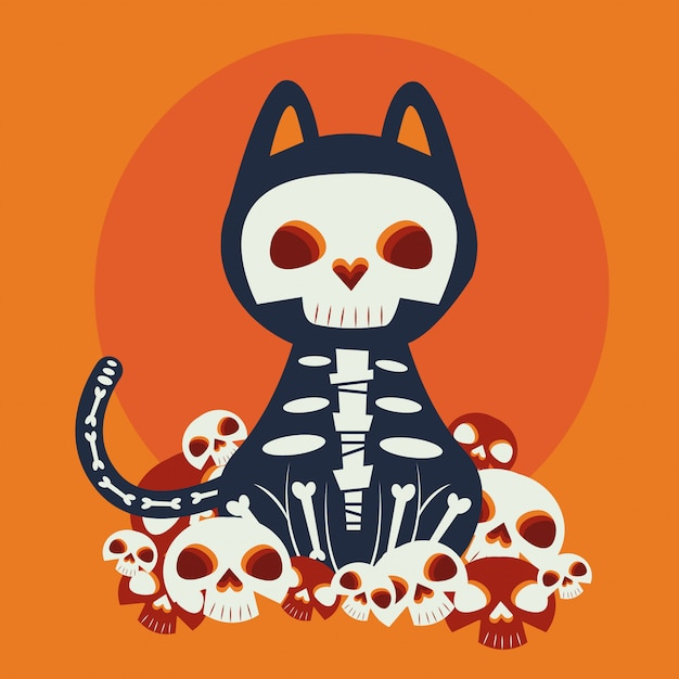 Halloween-kat vermomd van katrina-karakter Gratis Vector