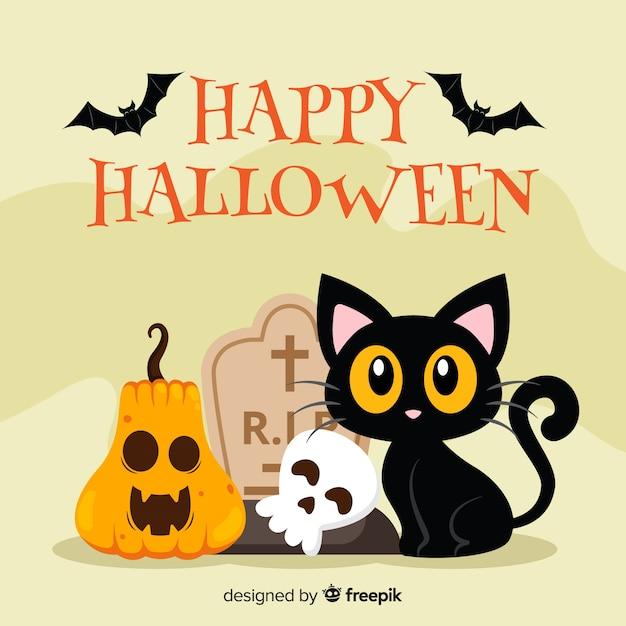 Halloween-kattenachtergrond in vlak ontwerp Gratis Vector