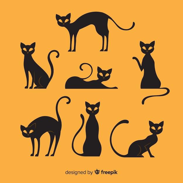 Halloween-katteninzameling met vlak ontwerp Gratis Vector