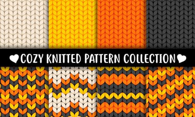 Halloween kleuren het gebreide semless patroon van de woltextuur Premium Vector