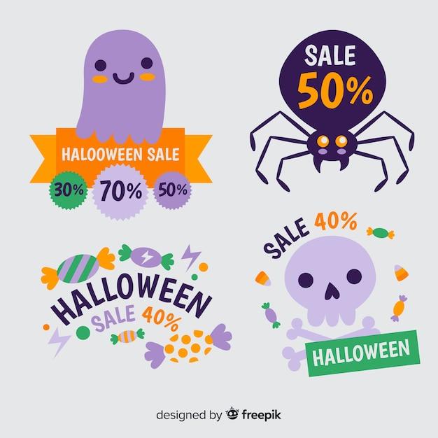 Halloween korting label collectie Gratis Vector
