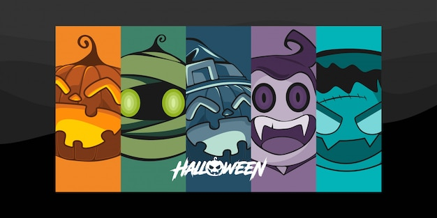 Halloween kostuum karakter illustratie Premium Vector