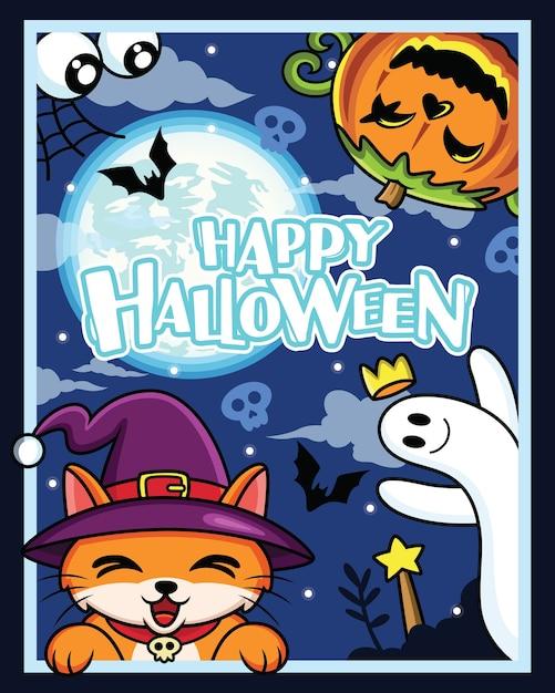 Halloween-kostuumfeest. groep monster kostuum met nacht, cartoon afbeelding Premium Vector