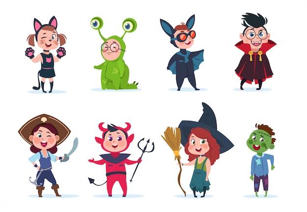 Halloween-kostuums voor kinderen. cartoon schattige baby op halloween-feest. festival stripfiguren Premium Vector