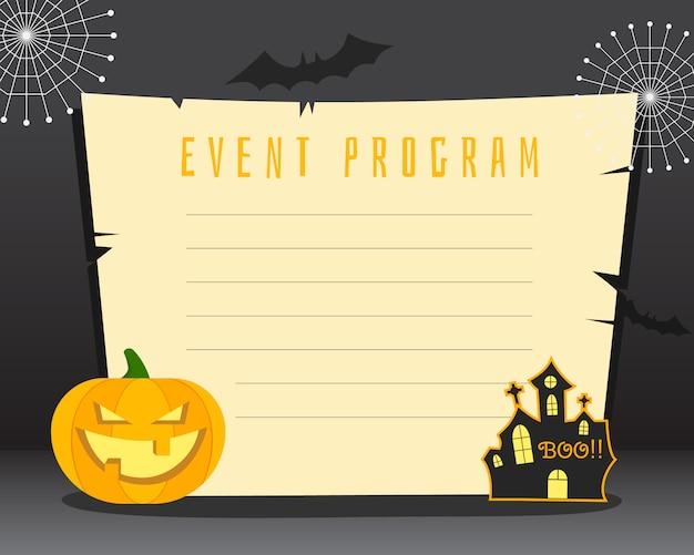 Halloween lege poster met plaats voor tekst. flyer kaart, poster. donker ontwerp met pompoen, horror huis, vleermuizen elementen en symbolen. Premium Vector