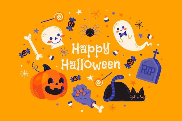 Halloween leuke achtergrondelementen Gratis Vector