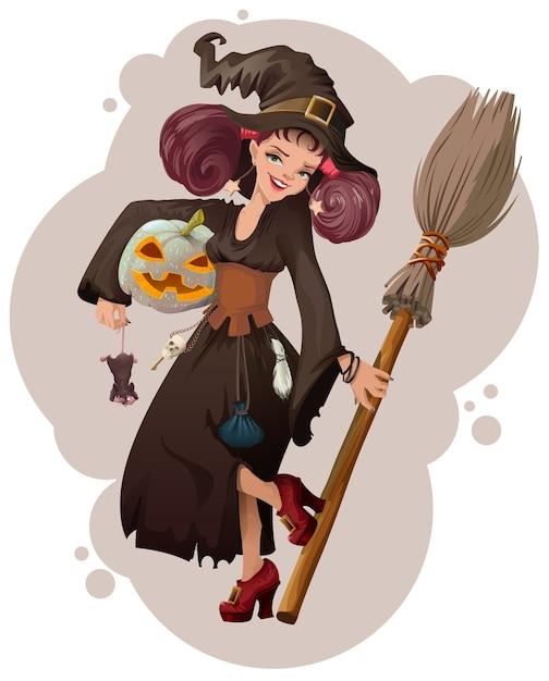 Halloween-maskerade. mooie jonge de holdingsmuis van de vrouwenheks. cartoon illustratie Premium Vector