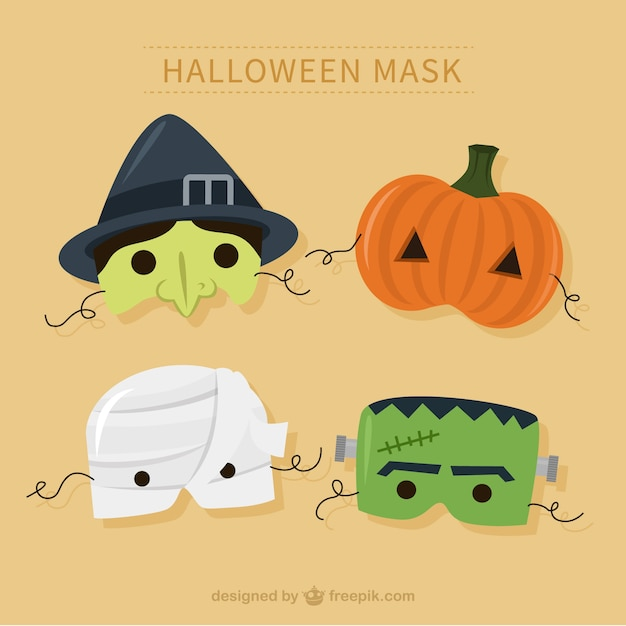 Halloween Pakken.Halloween Maskers Pakken Vector Premium Download