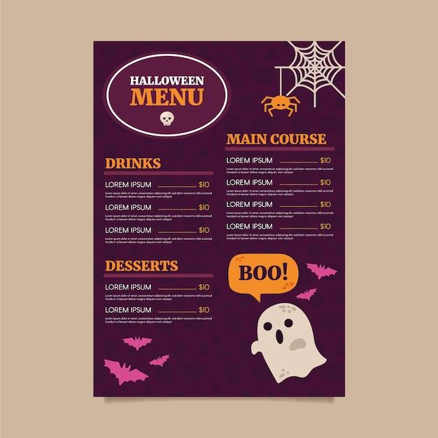 Halloween menusjabloon in plat ontwerp Gratis Vector