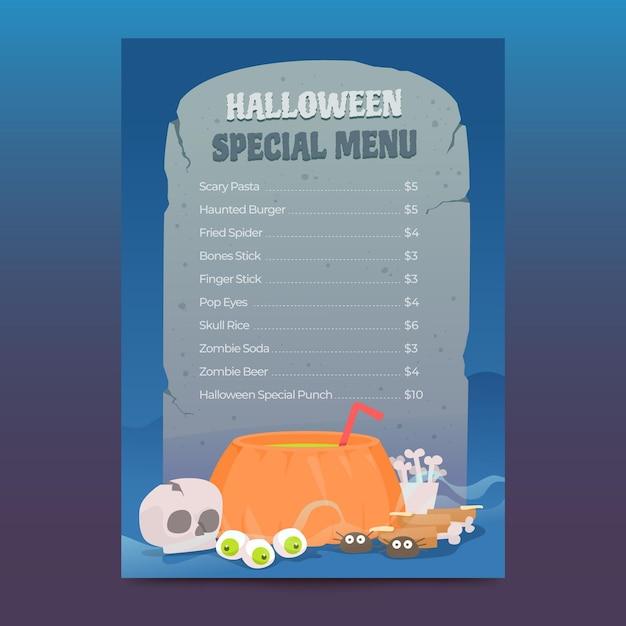 Halloween menusjabloon Gratis Vector