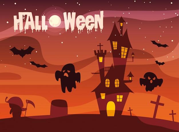 Halloween met kasteel en geesten Premium Vector