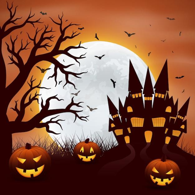 Halloween met pompoenen en castel op rood Premium Vector