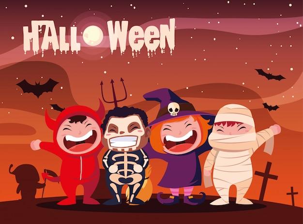 Halloween met vermomde kinderen Premium Vector