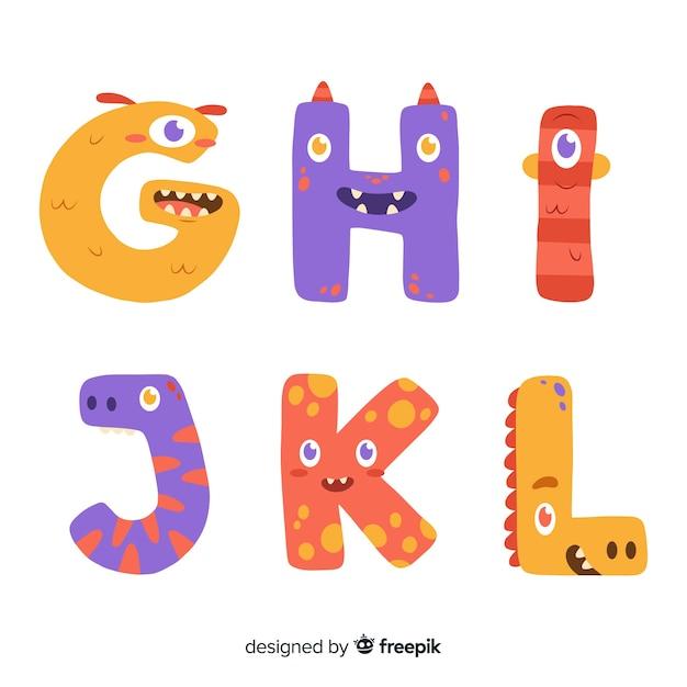Halloween monster alfabet concept Gratis Vector