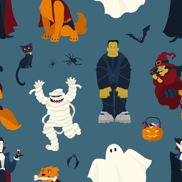 Halloween naadloos patroon met grappige enge magische karakters - spook, vampier, mummie, heks, zwarte kat, monster, weerwolf Premium Vector