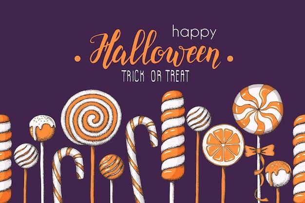 Halloween naadloos patroon met hand getrokken gekleurd suikergoed Premium Vector