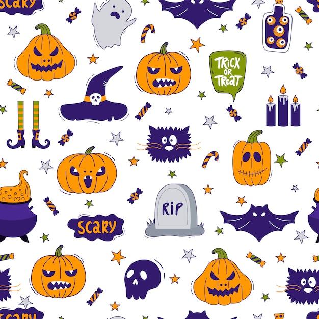 Halloween naadloos patroon Premium Vector