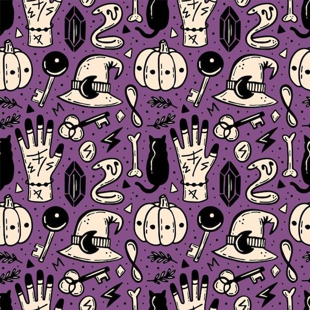 Halloween naadloze patroon. esoterisch, bovennatuurlijk, paranormaal. Premium Vector