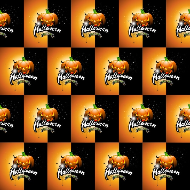Halloween naadloze patroon illustratie met pompoenen eng en gezichten op donkere achtergrond. Premium Vector