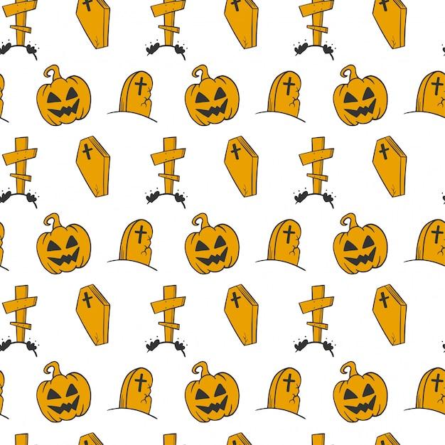 Halloween naadloze patroon in doodle en schets stijl. Premium Vector