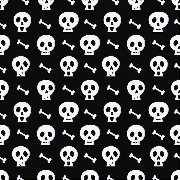 Halloween naadloze patroon met schedel en botten op zwarte achtergrond. Premium Vector