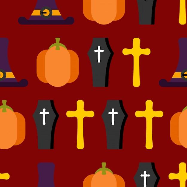 Halloween naadloze patroon voor vreselijke vakantie. hoeden heks en grafsteen. pompoen en zombies Premium Vector