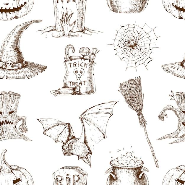 Halloween naadloze patroon Gratis Vector