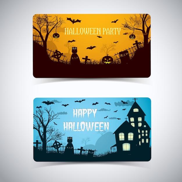 Halloween nacht kaart met afgeronde hoeken gloeiende lantaarns begraafplaats spookhuis dieren cartoon stijl geïsoleerd Gratis Vector