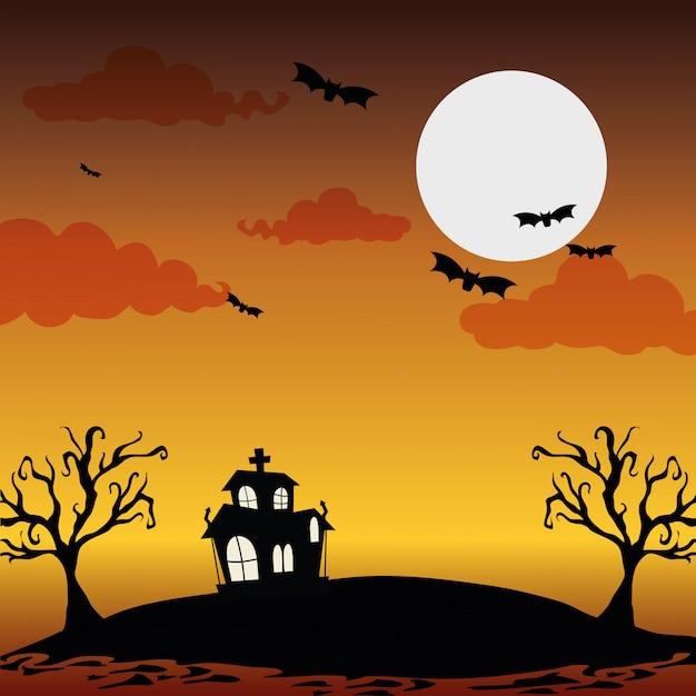 Halloween nacht landschap Premium Vector