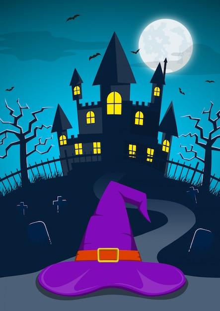 Halloween-nachtachtergrond met heksenhoed en achtervolgd kasteel Premium Vector