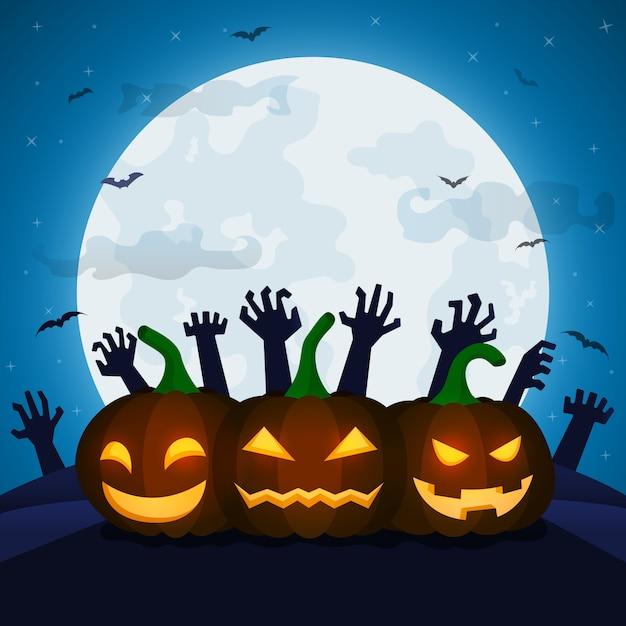 Halloween-nachtillustratie voor groetkaart Premium Vector