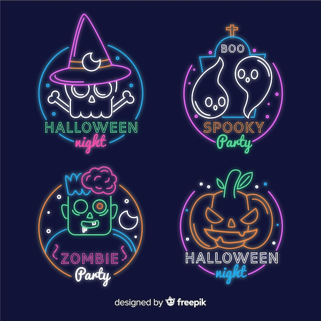Halloween neon teken collectie Gratis Vector