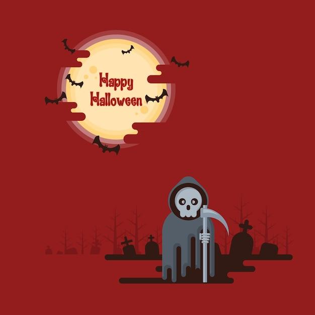 Halloween, onverbiddelijke maaimachine die zich met zeis bij nacht in een kerkhof onder het gloeien volledige moo bevinden Premium Vector
