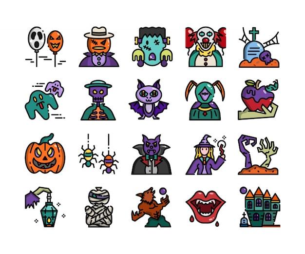 Halloween overzicht plat ontwerp Premium Vector