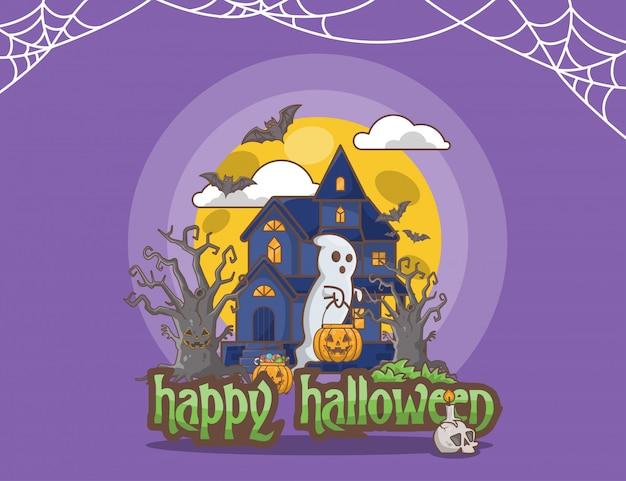 Halloween paarse achtergrond Premium Vector